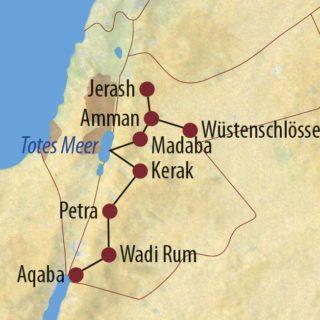 Karte Reise Jordanien Höhepunkte Jordaniens 2021