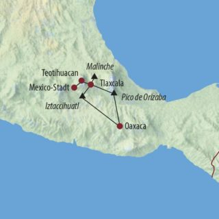 Karte Reise Mexiko Malinche (4461m), Iztaccihuatl (5286m) und Orizaba (5640m) 2021