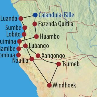 Karte Reise Namibia • Angola Unter dem Kreuz des Südens 2021