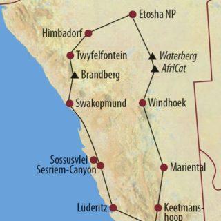 Karte Reise Namibia Vom Etosha-Nationalpark in den Fish-River-Canyon 2021