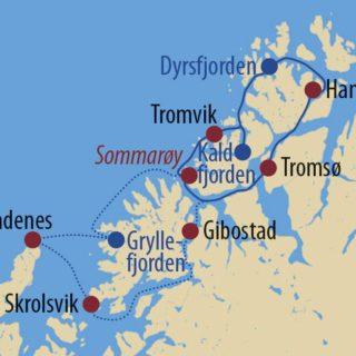 Karte Reise Norwegen Segeln, Nordlichter und Wale 2021
