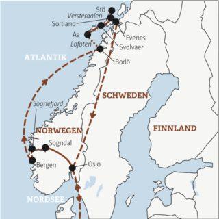 Die Highlights Norwegens – von den Fjorden des Südens bis weit über den Polarkreis Young Traveller ab 35J.