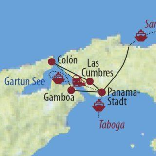 Karte Reise Panama So schön ist Panama wirklich – Erlebnisreise für die ganze Familie 2021