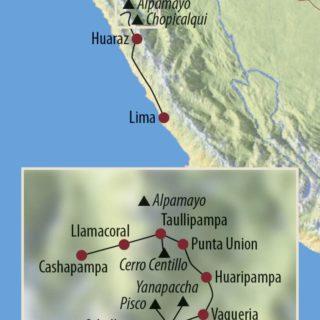 Karte Reise Peru | Cordillera Blanca Yanapaccha (5460m), Nevado Pisco (5752m) und Chopicalqui (6345m) 2021