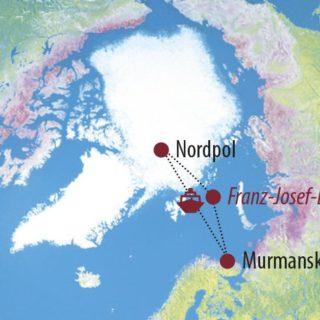 Karte Reise Russland Mit dem Eisbrecher zum Nordpol 2021
