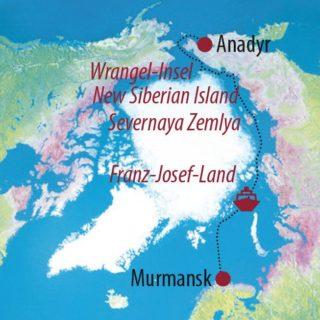 Karte Reise Russland | Wrangel Island  • Sibirische Inseln  • Franz-Josef-Land Traumtour durch die Nord-Ost-Passage 2021