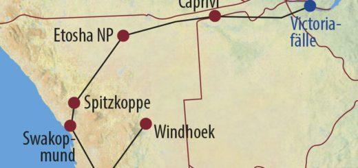 Karte Reise Sambia • Namibia Wüste, Felsmalereien und Victoriafälle 2021
