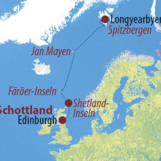 Karte Reise Schottland • Färöer • Jan Mayen • Spitzbergen Trauminseln im Nordatlantik 2021