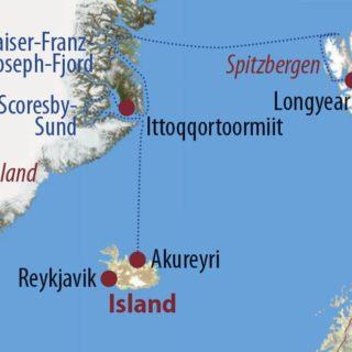 Karte Reise Spitzbergen • Grönland • Island Herbstlicher Farbrausch in der Arktis 2021