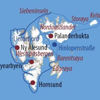 Karte Reise Spitzbergen Rund um Spitzbergen 2021
