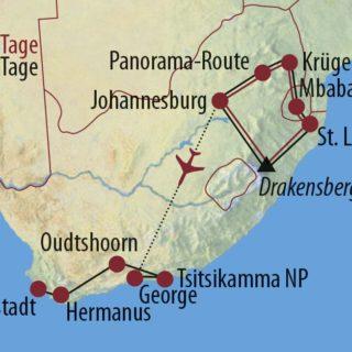 Karte Reise Südafrika • Eswatini Große Südafrika-Rundreise 2021