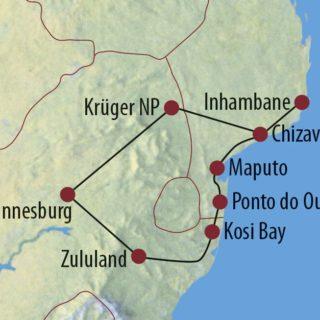Karte Reise Südafrika • Mosambik Tropische Strände und afrikanischer Busch 2021