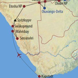 Karte Reise Südafrika • Namibia • Botswana • Simbabwe Vom Kap bis zum Sambesi 2021