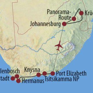 """Karte Reise Südafrika Vom Kap der Guten Hoffnung zu den """"Big Five"""" 2021"""