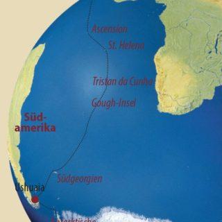 Karte Reise Südgeorgien • Tristan da Cunha • St. Helena • Ascension • Kapverden Atlantische Odyssee 2021