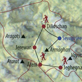 Karte Reise Armenien Transcaucasian Trail  – auf dem Fernwanderweg durch den Kleinen Kaukasus 2021/22