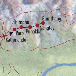 Karte Reise Bhutan • Nepal Mit der Kamera auf den Spuren des Glücks 2021/22