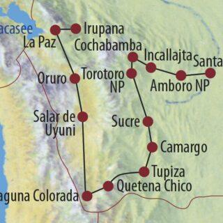 Karte Reise Bolivien Mietwagenabenteuer Bolivien 2021/22