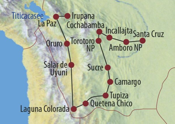 Bolivien Mietwagenabenteuer Bolivien Salar de Uyuni Karte
