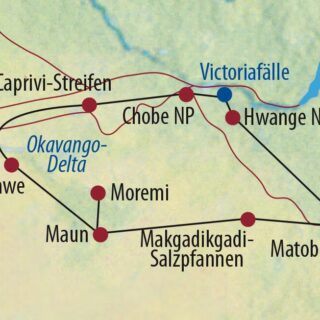 Karte Reise Botswana • Namibia • Simbabwe Unterwegs im Königreich der Elefanten 2021/22