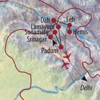 Karte Reise Indien   Kaschmir • Zanskar • Ladakh Über Srinagar ins Land der hohen Pässe 2021/22