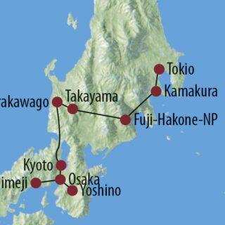 Karte Reise Japan Land der aufgehenden Sonne 2021/22