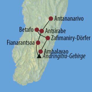 Karte Reise Madagaskar Aktiv zwischen Reisterrassen, Felsschluchten und Lemuren 2021/22