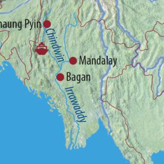 "Karte Reise Myanmar Auf der ""Road to Mandalay"" 2021/22"