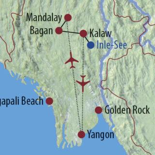 Karte Reise Myanmar Durch Pagodenwälder und Königsstädte 2021/22