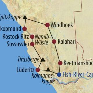 Karte Reise Namibia Olympus NamibiaXperience 2021