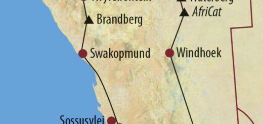 Karte Reise Namibia Vom Etosha-Nationalpark in den Fish-River-Canyon 2021/22