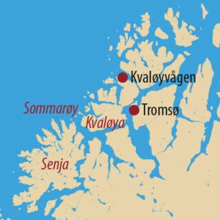 Karte Reise Norwegen Orcas und Buckelwale unter Nordlichtern – Fotoreise mit Bernd Nill 2021/22