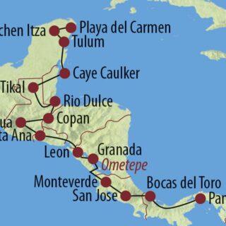 Karte Reise Panama • Costa Rica • Nicaragua • El Salvador • Guatemala • Honduras • Belize • Mexiko Transzentralamerika 2021/22