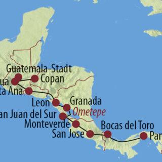 Karte Reise Panama • Costa Rica • Nicaragua • El Salvador • Guatemala • Honduras Transzentralamerika 2021/22