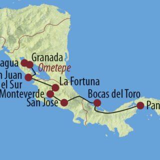 Karte Reise Panama • Costa Rica • Nicaragua Transzentralamerika 2021/22