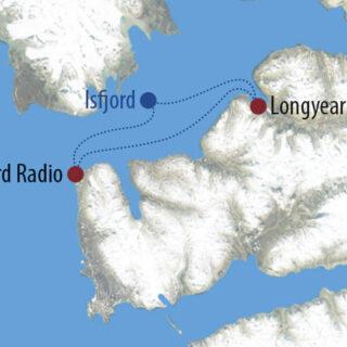 Karte Reise Spitzbergen Mit Huskys nach Isfjord Radio 2021