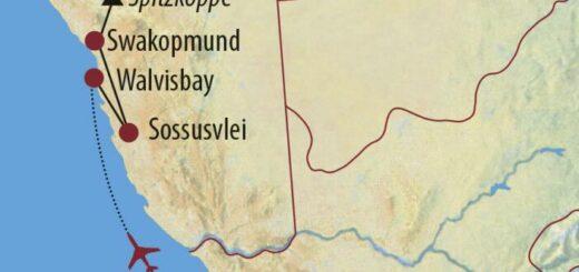 Karte Reise Südafrika • Namibia • Botswana • Simbabwe Vom Kap bis zum Sambesi 2021/22
