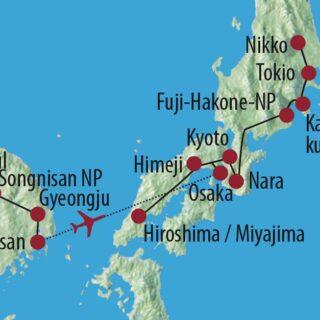 Karte Reise Südkorea • Japan Historische Kaiserreiche im fernen Osten 2021/22