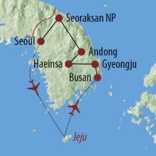 Karte Reise Südkorea Best of Korea 2021/22