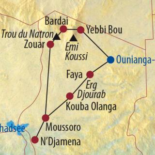 Karte Reise Tschad Tibesti – Ins trockene Herz Afrikas 2021/22