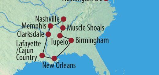Karte Reise USA | Südstaaten Live und in Farbe – Die Musik des Mississippi 2021/22