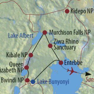 Karte Reise Uganda • Tansania Best of Uganda und Sansibar 2021/22