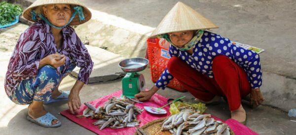 Frauen verkaufen Fisch auf dem Markt