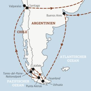 Je nach Wahl in 14 oder 16 Tagen die Highlights von Patagonien erleben: mit und ohne Badetage am Pazifik