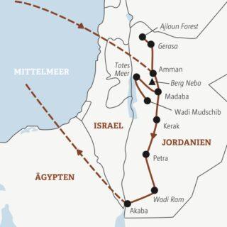 Je nach Wahl an zehn oder zwölf Tagen die Highlights Jordaniens erleben: Totes Meer