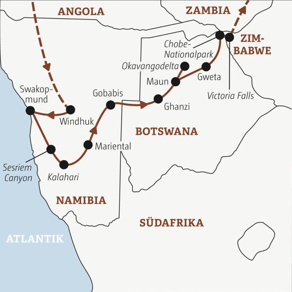 Namibia – Botswana – Zimbabwe ab 35 Rundreisen junge Leute 2021