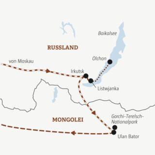 Auf einer zweiwöchigen Reise Moskau erleben und mit der Transsibirischen Eisenbahn durch Sibirien und die Mongolei reisen Young Traveller ab 35J.
