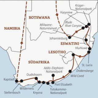 Auf einer 20-tägigen Reise auf dem Landweg vom Krügerpark über Eswatini nach Hluhluwe