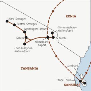 In zwei Wochen zu den Höhepunkten Ostafrikas: zum fantastischen Ngorongoro-Krater